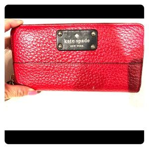 Kate spade red leather zippered wallet